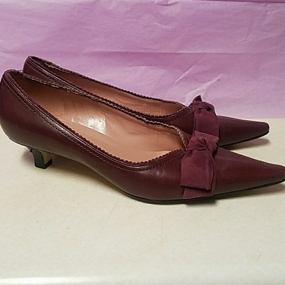 83349dce4ce Franco Sarto Shoes - Franco Sarto Purple Leather Kitten Heels with Bow